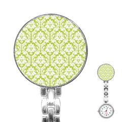White On Spring Green Damask Stainless Steel Nurses Watch by Zandiepants
