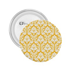 White On Sunny Yellow Damask 2 25  Button by Zandiepants