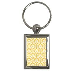 White On Sunny Yellow Damask Key Chain (rectangle) by Zandiepants