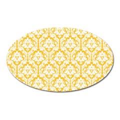 White On Sunny Yellow Damask Magnet (Oval) by Zandiepants