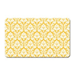 White On Sunny Yellow Damask Magnet (Rectangular) by Zandiepants