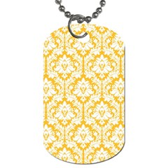 White On Sunny Yellow Damask Dog Tag (one Sided) by Zandiepants