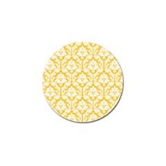 White On Sunny Yellow Damask Golf Ball Marker 4 Pack by Zandiepants
