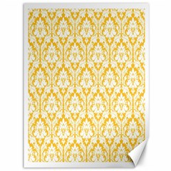 White On Sunny Yellow Damask Canvas 36  x 48  (Unframed) by Zandiepants
