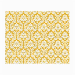 White On Sunny Yellow Damask Glasses Cloth (small, Two Sided) by Zandiepants