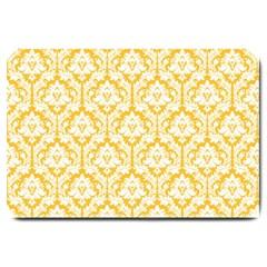 White On Sunny Yellow Damask Large Door Mat by Zandiepants