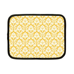White On Sunny Yellow Damask Netbook Sleeve (small) by Zandiepants