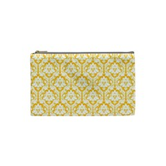 Sunny Yellow Damask Pattern Cosmetic Bag (Small) by Zandiepants