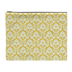 Sunny Yellow Damask Pattern Cosmetic Bag (xl) by Zandiepants