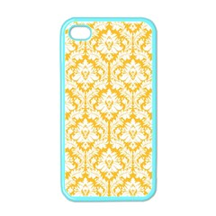 White On Sunny Yellow Damask Apple iPhone 4 Case (Color) by Zandiepants
