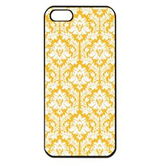 White On Sunny Yellow Damask Apple iPhone 5 Seamless Case (Black) by Zandiepants