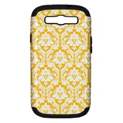 White On Sunny Yellow Damask Samsung Galaxy S Iii Hardshell Case (pc+silicone) by Zandiepants