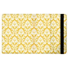 White On Sunny Yellow Damask Apple Ipad 2 Flip Case by Zandiepants