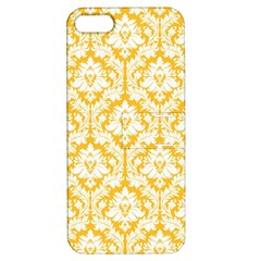 White On Sunny Yellow Damask Apple iPhone 5 Hardshell Case with Stand by Zandiepants