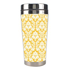 White On Sunny Yellow Damask Stainless Steel Travel Tumbler by Zandiepants