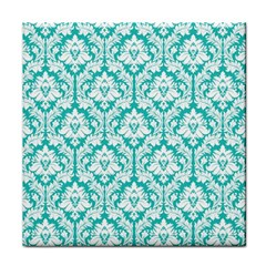 White On Turquoise Damask Ceramic Tile by Zandiepants