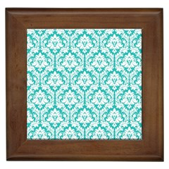 White On Turquoise Damask Framed Ceramic Tile by Zandiepants