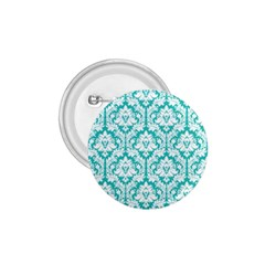 White On Turquoise Damask 1 75  Button by Zandiepants
