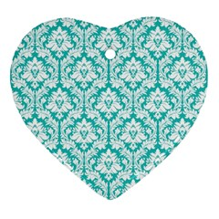 White On Turquoise Damask Heart Ornament by Zandiepants