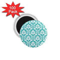 White On Turquoise Damask 1 75  Button Magnet (100 Pack) by Zandiepants