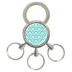 White On Turquoise Damask 3 Ring Key Chain by Zandiepants