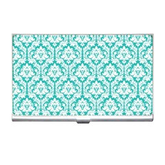 White On Turquoise Damask Business Card Holder by Zandiepants
