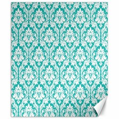 White On Turquoise Damask Canvas 8  x 10  (Unframed) by Zandiepants