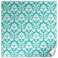 White On Turquoise Damask Canvas 12  X 12  (unframed) by Zandiepants