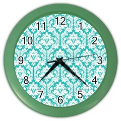 White On Turquoise Damask Wall Clock (color) by Zandiepants