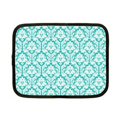 White On Turquoise Damask Netbook Sleeve (small) by Zandiepants