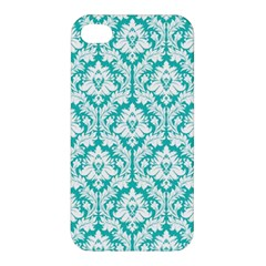 White On Turquoise Damask Apple iPhone 4/4S Hardshell Case by Zandiepants