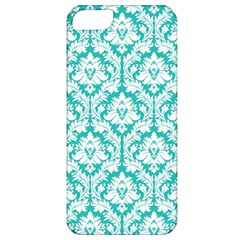 White On Turquoise Damask Apple iPhone 5 Classic Hardshell Case by Zandiepants