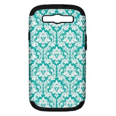 White On Turquoise Damask Samsung Galaxy S Iii Hardshell Case (pc+silicone) by Zandiepants