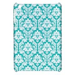 White On Turquoise Damask Apple Ipad Mini Hardshell Case by Zandiepants