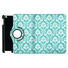 White On Turquoise Damask Apple Ipad 2 Flip 360 Case by Zandiepants