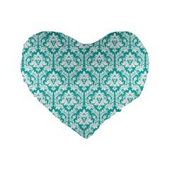 Turquoise Damask Pattern Standard 16  Premium Heart Shape Cushion  by Zandiepants