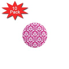 White On Hot Pink Damask 1  Mini Button Magnet (10 Pack) by Zandiepants