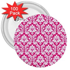 White On Hot Pink Damask 3  Button (100 Pack) by Zandiepants