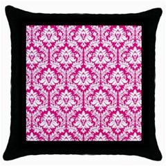 White On Hot Pink Damask Black Throw Pillow Case by Zandiepants