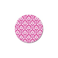 White On Hot Pink Damask Golf Ball Marker 10 Pack by Zandiepants