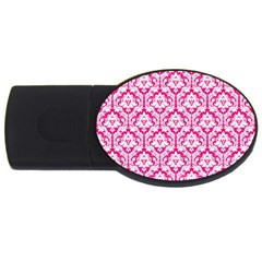 White On Hot Pink Damask 2gb Usb Flash Drive (oval)