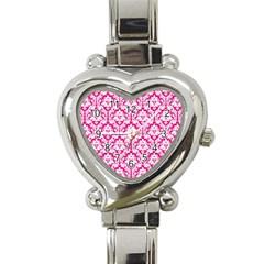 White On Hot Pink Damask Heart Italian Charm Watch  by Zandiepants