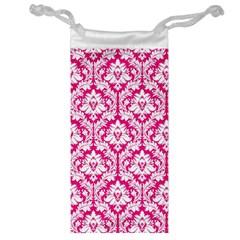 White On Hot Pink Damask Jewelry Bag by Zandiepants