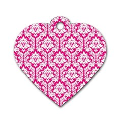 White On Hot Pink Damask Dog Tag Heart (one Sided)  by Zandiepants
