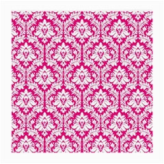 White On Hot Pink Damask Glasses Cloth (medium) by Zandiepants
