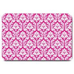 White On Hot Pink Damask Large Door Mat by Zandiepants