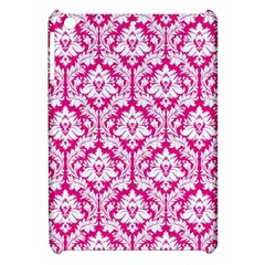 White On Hot Pink Damask Apple Ipad Mini Hardshell Case by Zandiepants
