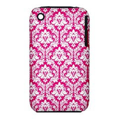 White On Hot Pink Damask Apple iPhone 3G/3GS Hardshell Case (PC+Silicone) by Zandiepants