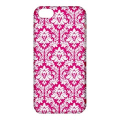 White On Hot Pink Damask Apple Iphone 5c Hardshell Case
