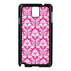 White On Hot Pink Damask Samsung Galaxy Note 3 N9005 Case (black) by Zandiepants